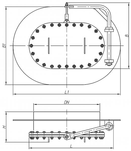 Люк-лаз овальный, с поворотным механизмом