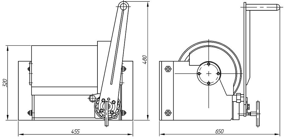 Лебедка ручная ЛР-1000 чертеж